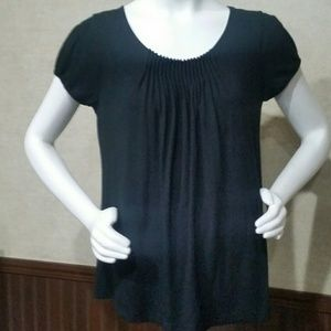 Black Gathered Top by New York & Company Size M